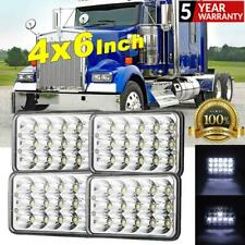 4x 4x6 Inch LED Headlight Hi-Lo Beam Crystal Clear Lens For Truck Freightliner