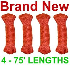 """NEW 300' 3-STRAND TWIST 1/4"""" POLY DOCK LINE/ROPE,RED"""