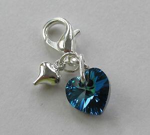 Perfect Wedding Gift for Bride Something Blue - Swarovski Elements Heart Charm *