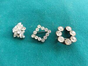 3 stunning Art Deco brooches  cluster/lucky horseshoe/diamond sparkly stones
