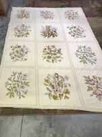 Vtg Aubusson Hand Woven Rug Tapestry Floral Botanical ~6'x8' Needlepoint Cutter?