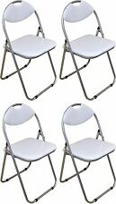 4 X Harbour Housewares White Padded Folding Desk Guest Chairs