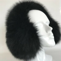 Full Fur Covered Black Real Fox Fur Earmuffs Neck Warmer Hat Headband