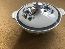 Alfred Meakin Pottery Alfred Meakin Glo White Ironstone Flowers Lidded Casserole Serving Dish Retro #2