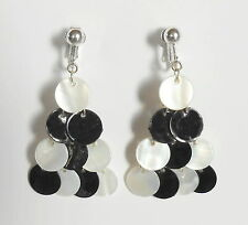 BLACK & WHITE CASCADE DANGLES - CLIP ON EARRINGS (Hook Options)