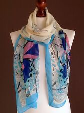 LONG LADIES SOFT BUTTERFLY PRINT FASHION SCARF CREAM/BLUE BRAND NEW SILK-VISCOSE