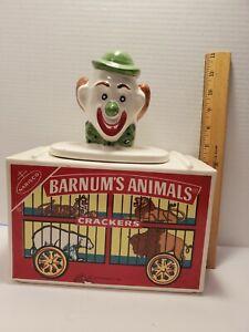 Barnum's Animal Crackers Cookie Jar clown circus vintage 1972 Nabisco
