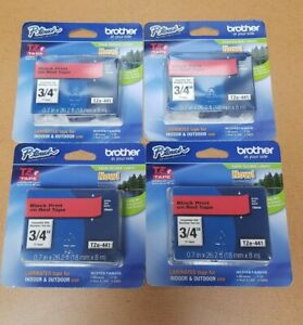 """4PK New Brother TZe-441 BLACK on RED Tape Labels 0.7"""" x 26.2' OEM Genuine"""