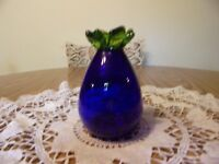 ART GLASS COBALT WITH GREEN TOP VASE SIGNED