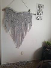 Large Silver Boho Macrame Wall Hanging