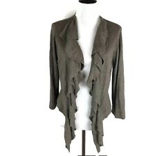 89th & Madison Open Front Cardigan Sweater Ruffle Cover Up Ribbed Tunic Size L
