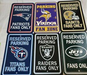 NEW-- U Pick Team NFL Parking Sign FAN ZONE Home Office Bar Decor Mancave 12x18