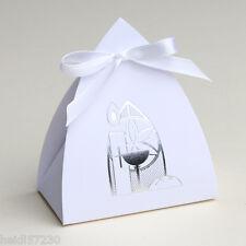 Lot de 10 boites à dragées vitrail Communion calice et bougie blanc avec ruban