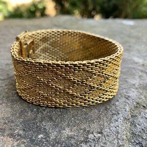 Vintage 1960's CHRISTIAN DIOR GERMANY HENKEL GROSSE Couture Gold Mesh Bracelet