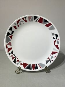 "10 1/2"" Corelle MOSAIC RED Scarlet Black Gray Geometric DINNER PLATE"