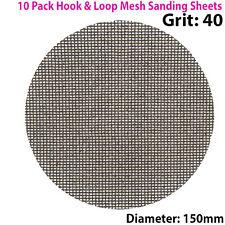 10x 40 Grit Silicon Carbide Mesh 150m Round Sanding Discs –Hook & Loop Backing