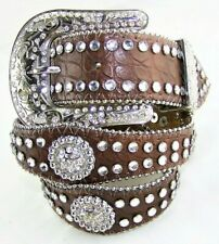 Nocona Belt Co. N4426002 Rhinestone & Faux Crocodile Print Girls Youth Belt 28