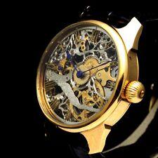 Vintage Men's Wrist Watch LIP Mechanical Skeleton Gold French Best Mens Watches