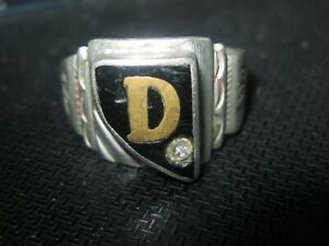 Vintage Old Mens Ring  Silver 925 Silver w/ Stone / Intricate Design 11.5  D