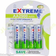 4 x AA Extreme  Rechargeable 2900 mAh NI-MH Batteries 2900mAh HIGH CAPACITY