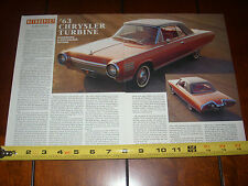 1963 CHRYSLER TURBINE JET CAR - ORIGINAL 1992 ARTICLE