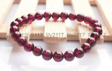 Natural 8mm Rose Red Garnet Crystal Round Beads Bracelet Elastic Bangle