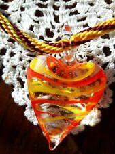 Murano style glass pendant with hand made Kumihimo Japanese braided necklace