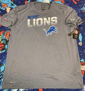 NWT'S The Nike Tee On Filed Dri-Fit Detroit Lions NFL Shirt Men's SZ 2XL Gray