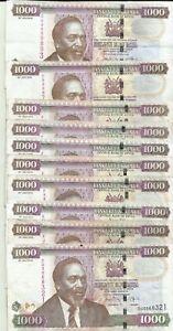KENYA LOT 10x 1000 SHILINGI 2010  P 51. VF CONDITION.  8RW 12DES