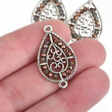 2 Silver Teardrop Charms, BRONZE Crystal, Filigree Connector Link, chs4020