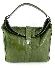 LAMBERTSON TRUEX Green Crocodile Fold Over Shoulder Handbag $9500.00