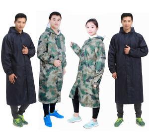 Mens Women Waterproof Oxford Raincoat Hooded Jacket Long Trench Outdoor Hiking