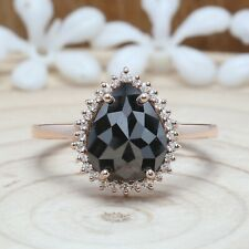2.67 CT Black Pear Diamond 14K Solid Gold Ring Engagement Gift Ring KD873