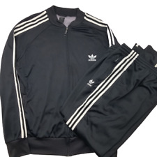 Adidas Men's 2XL Originals Firebird Trefoil 3 Stripe Full Black White Tracksuit