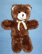 """Dark Brown Plush TEDDY BEAR 16"""" A Mart Stuffed Soft Toy Animal Bow Long Legs"""