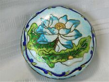 j449 Beautiful Vintage Cloisonne Trinket Box in Blues with Blue Enamel Interior