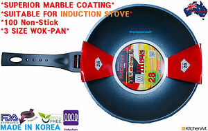 Non-Stick Wok pan, Marble Stone Coated Heat Sensor   **IH INDUCTION**