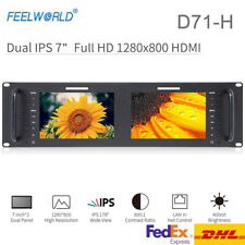 "Feelworld D71-H Monitor 7"" Dual IPS on Camera DSLR 3RU HDMI 2 Screens Broadcast"