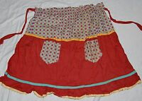 Vintage 30s Half Kitchen Apron Maroon Blue Yellow Paisley 2 Pockets