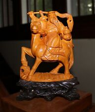 BEAUTIFUL VINTAGE CHINESE HANDMADE WOOD CARVING OF EITHER SHAU LAO OR LU DONGBIN