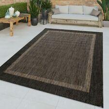 Flachgewebter In-& Outdoor Teppich Orientalisches Muster Bordüre Anthrazit Trend