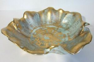 "Vintage Stangl Art Pottery Bowl - Centerpiece Bowl - Turquoise & Gold - 10"" Dia"
