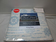 Beach Home Collection CAPTAIN King Sheet Set ~ Coral, Compass, Wheel  Blue/Ivory