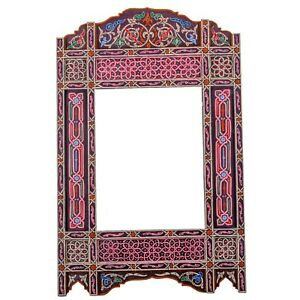 Moroccan farmhouse Purple hanging mirror frame, decor of wood, hand-painted