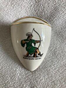 "Crested China Ware - W H Goss- Robin Hoods Last Shot Crest - ""Wall Pocket"""