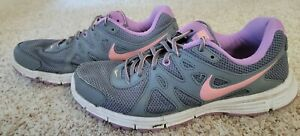 NIKE Revolution 2 Womens 554900-034 Grey Purple Running Shoes Sneakers Sz 11