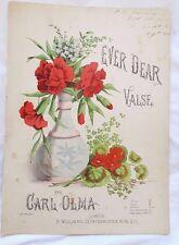 Ever Dear valse, Par Carl Olma, Circa 1844 Sheet Music *Very scarce*