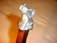$ALE RUSTIC RIVED SILVER SITTING ELEPHANT WALKING STICK BY JIM HALL