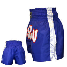 TurnerMAX Muay Thai Training Shorts Trunks Kick Boxing MMA Martial Arts Fighting Blue Medium