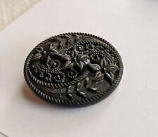 "Antique Vtg intricate Victorian Black GLASS  button flower floral 1.25"""